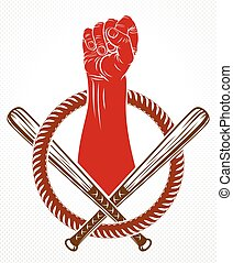 Revolution and Riot aggressive emblem or logo with strong...