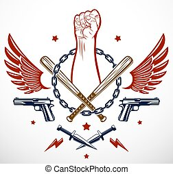 Revolution and Riot aggressive emblem or logo with strong clenched fist, weapons and different design elements , vector tattoo, anarchy and chaos, rebel partisan and revolutionary.