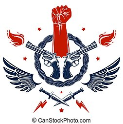 Revolution and Riot aggressive emblem or logo with strong ...