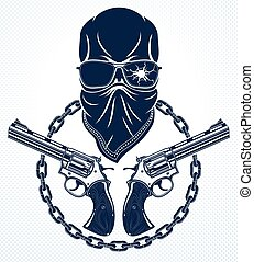 Revolution and Riot wicked emblem or logo with aggressive...