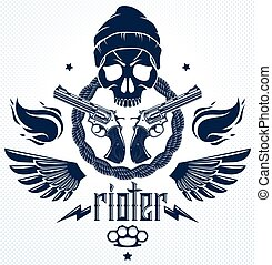 Revolution and Riot wicked emblem or logo with aggressive ...