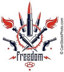 Revolution and War vector emblem with bullets and guns, logo...