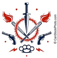 Revolution and War vector emblem with dagger knife and other...