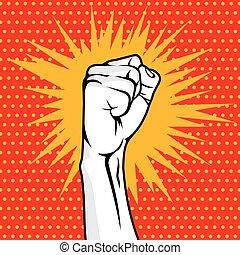 Revolution fist pop art vector illustration