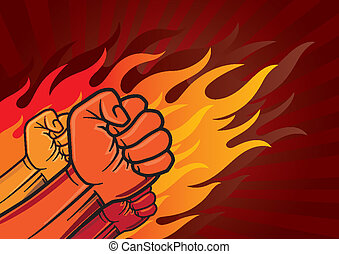 revolution fist - vector illustration of revolution fist