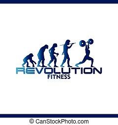 revolution fitness logo vector template