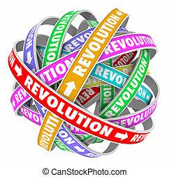 revolution, ord, cykel, ändring, nyskapande, utveckling