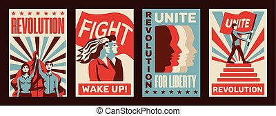 Revolution 4 promoting constructivist posters set with calls for strike fight unity liberty vintage isolated vector illustration