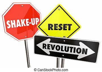 Revolution Reset Big Change Road Signs 3d Illustration