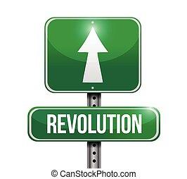 revolution street sign illustration design over a white background