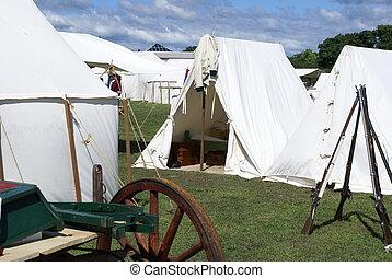 revolutionaire oorlog, reenactment, kamp