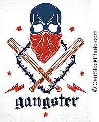 revolutionary., anarchia, banda, cranio, brutale, ghetto, crimine, emblema, o, armi, elementi, baseball, criminale, stile, disegno, logotipo, vettore, altro, retro, pipistrelli, terrore, aggressivo