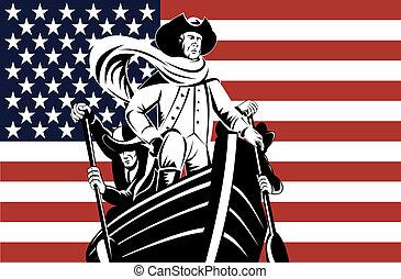 Revolutionary leader at helm - Illustration of a...