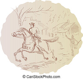 Revolutionary soldier on a horse - Illustration of a...