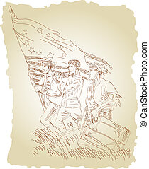 Revolutionary soldiers marching with flag - Illustration of...