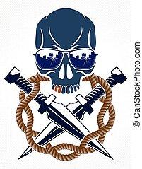 revolutionary., tatuaggio, rivoluzione, emblema, partigiano, vettore, cranio, logotipo, caos, ribelle, cattivo, o, aggressivo, tumulto, anarchia