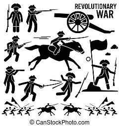 Set of human pictogram representing the revolutionary war between American and British. The soldier use weapons such as rifle, knife, sword, cannon, and horse. A soldier is also holding a flag signifying victory.