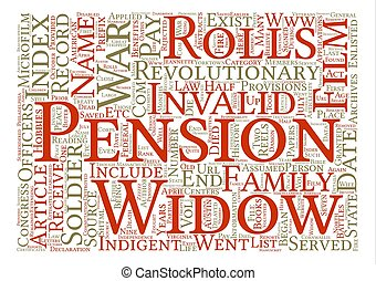 Revolutionary War Pensions text background word cloud...