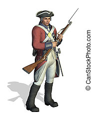 Revolutionary War Soldier - 3D render depicting a soldier...
