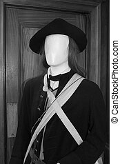 revolutionary war soldier - close-up black and white view of...