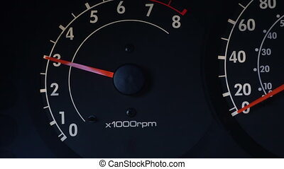 revolutions per minute display on car dashboard