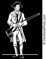Illustration of a revolutionary soldier standing with a gun isolated on black background
