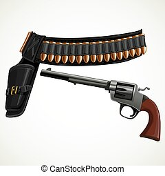 revolver, a belt holster and ammunition