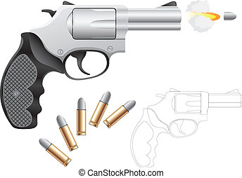 Revolver and bullets isolated on the white background