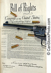 Revolver and bullets on bill of rights