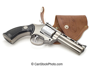 revolver and holster on white - object on white lighter -...