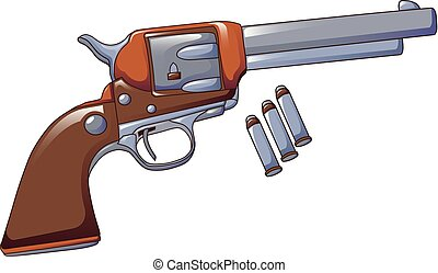 Revolver cowboy icon, cartoon style