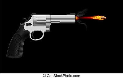 Revolver firing bullet. Illustration on black background