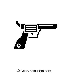 revolver - gun - cowboy icon, vector illustration, black sign on isolated background