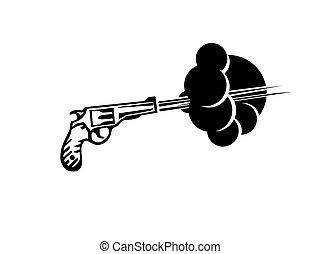 revolver gun shoot vector illustration - Revolver shoot ...