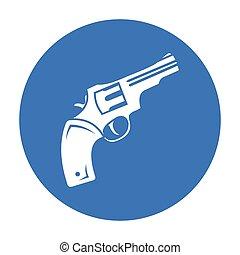 Revolver icon black. Singe western icon from the wild west black.