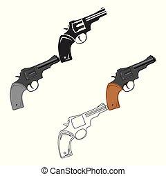 Revolver icon cartoon. Singe western icon from the wild west cartoon.