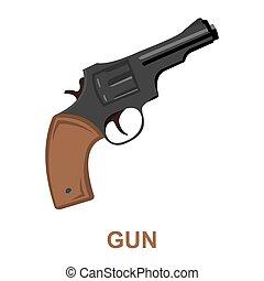 Revolver icon cartoon. Singe western icon from the wild west set.
