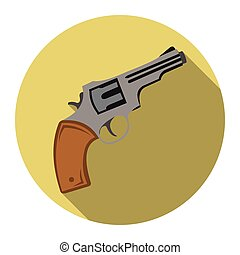 Revolver icon flat. Singe western icon from the wild west flat.