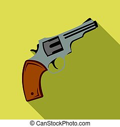 Revolver icon flate. Singe western icon from the wild west flate.