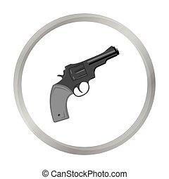 Revolver icon monochrome. Singe western icon from the wild west monochrome.