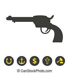 Revolver icon on white background.