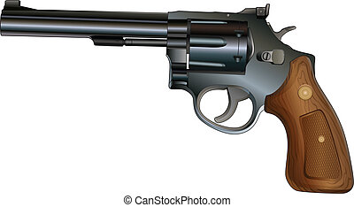 Revolver - Illustration of a revolver style handgun. Black...