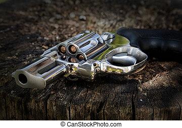 revolver, kastat, bort