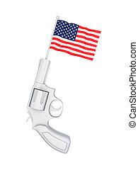 revolver, met, een, vlag, van, usa.