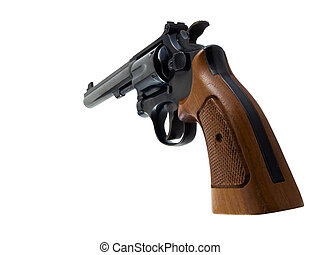 Revolver - Photo of a revolver handgun isolated on white
