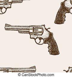 Revolver pistol sketch seamless pattern vector