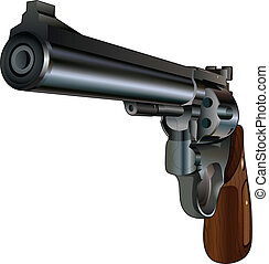 Revolver Pointed at You - Illustration of a revolver style...