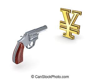 Revolver shooting at symbol of yen.