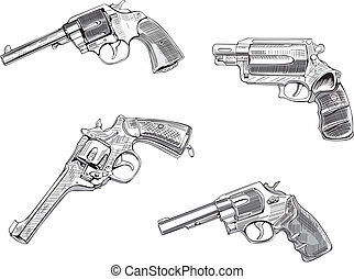 Revolver sketches. Set of black and white vector...