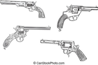 Revolver sketches. Set of black and white vector ...